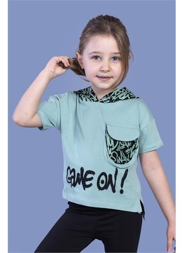 Toontoy Kids Toontoy Kız Çocuk Cep Detaylı Kapüşonlu Baskılı Tişört Yeşil